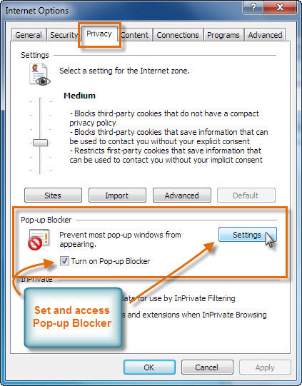 Pop-up Blocker Internet Explorer